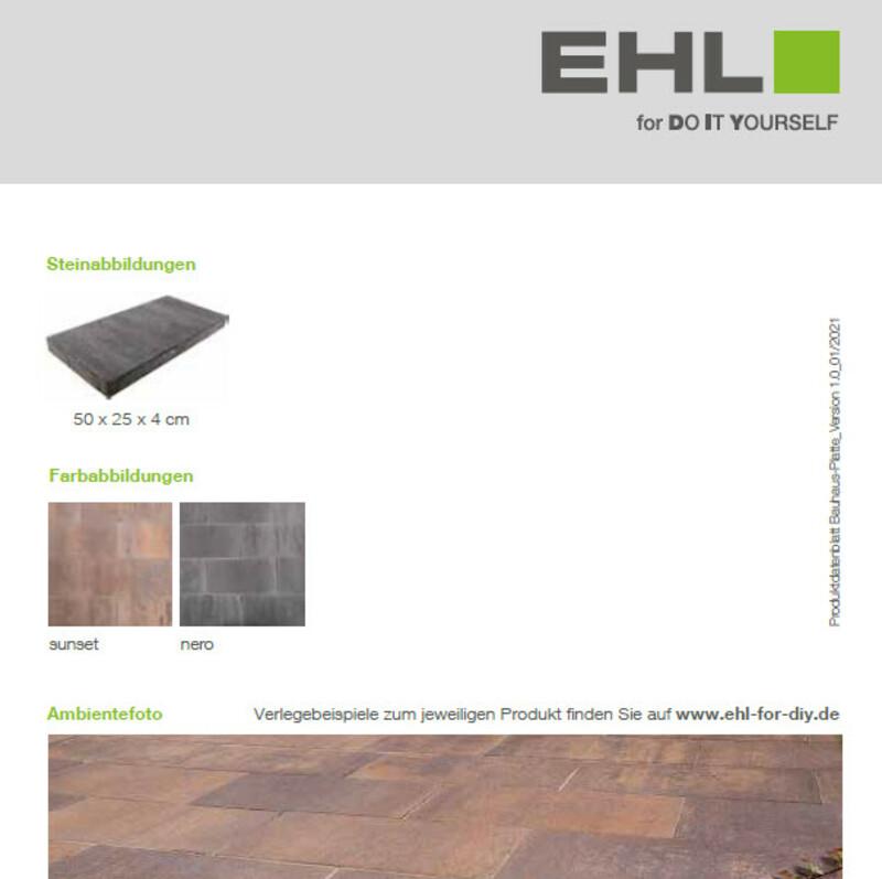 Produktdatenblatt Bauhaus-Platte