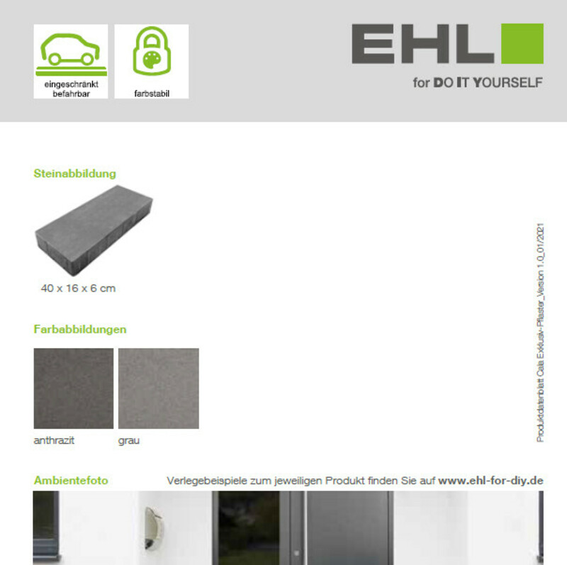 Produktdatenblatt Cala Exklusiv-Pflaster
