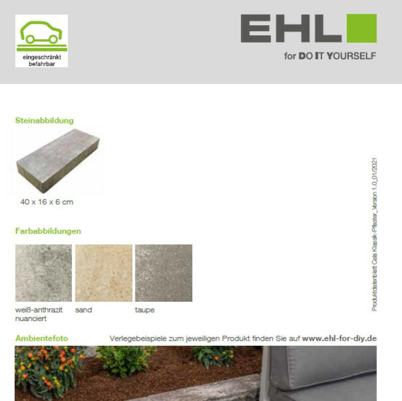 Produktdatenblatt  Cala Klassik-Pflaster