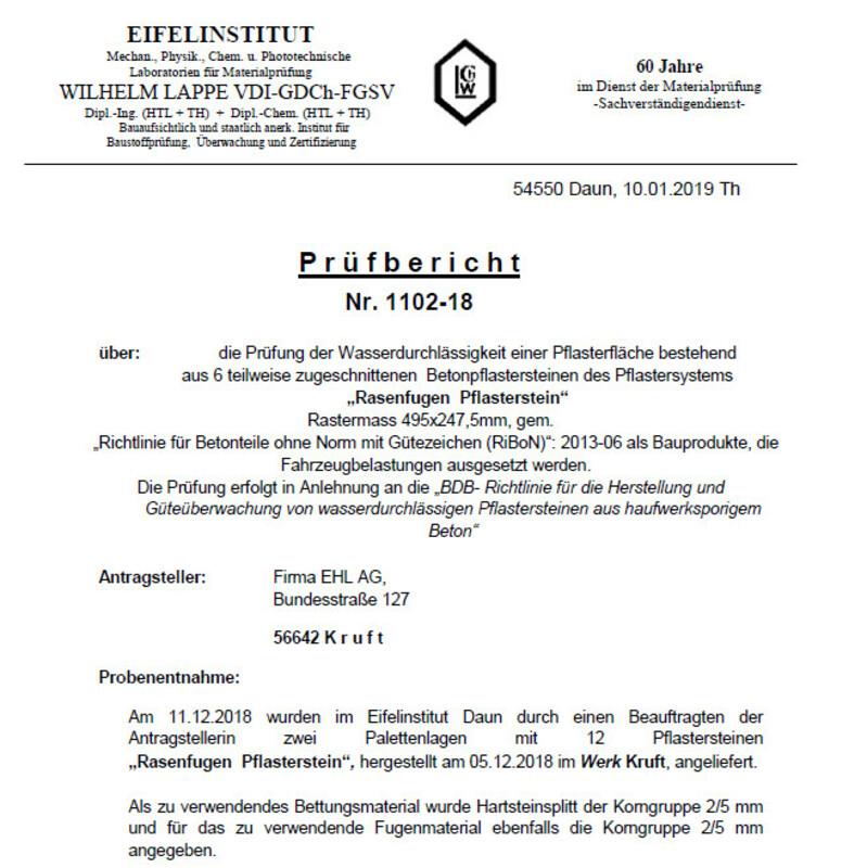 Prüfzeugnis City-Rasenstein