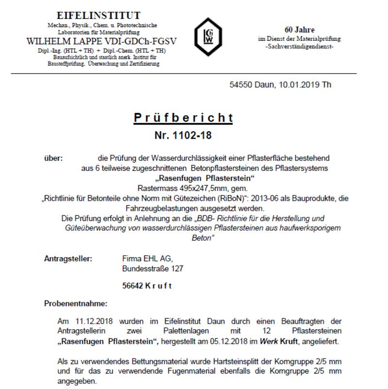 Prüfzeugnis CityPur-Rasenstein