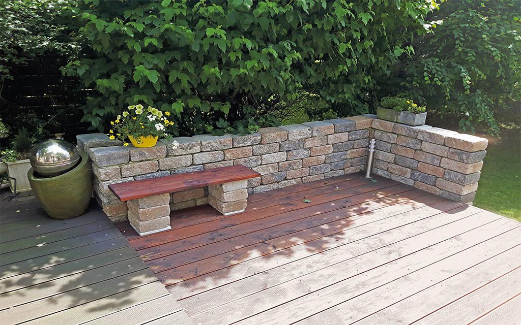 Gartenmauer Natursteinoptik muschelkalk