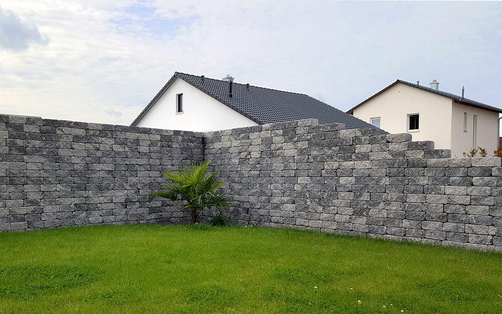 Antikmur Gartenmauer grau-anthrazit
