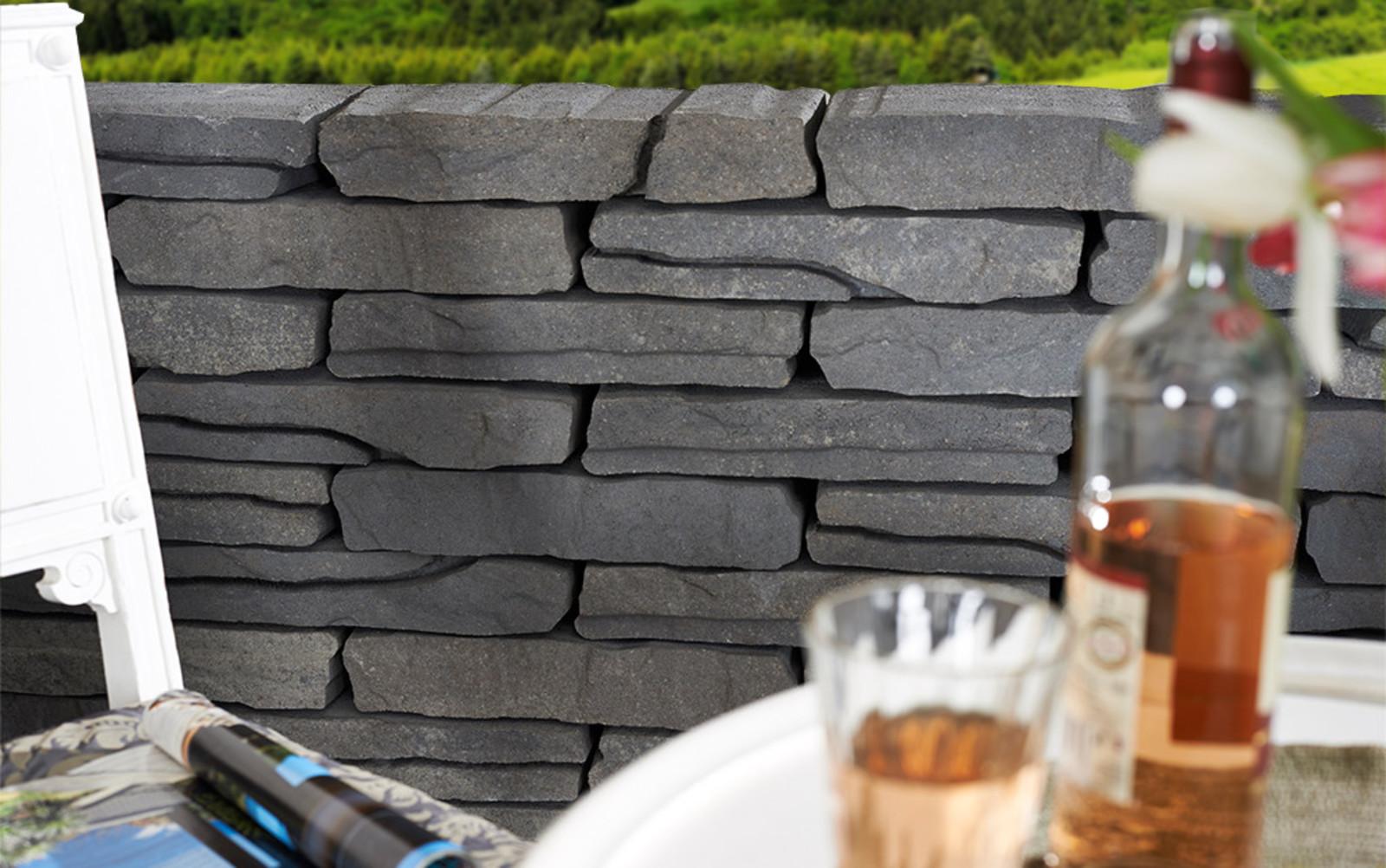 Burgundermauer Schichtmauer Natursteinoptik