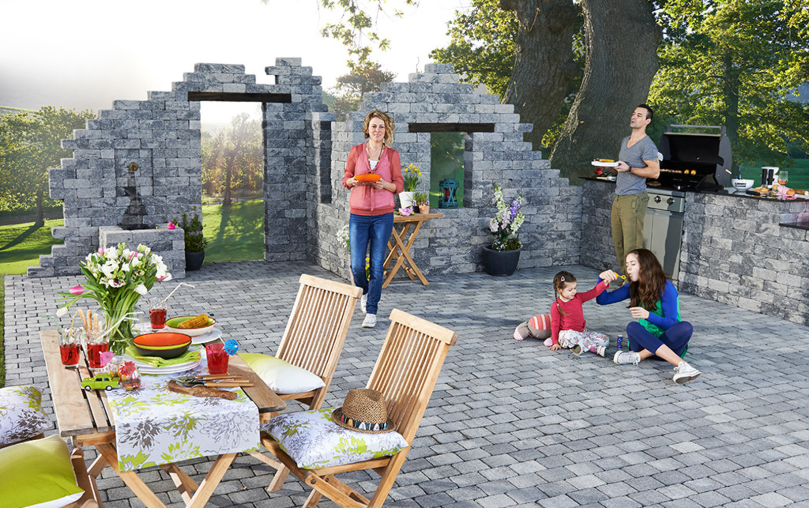 Ruinen mit Outdoor kitchen Steine Baukasten