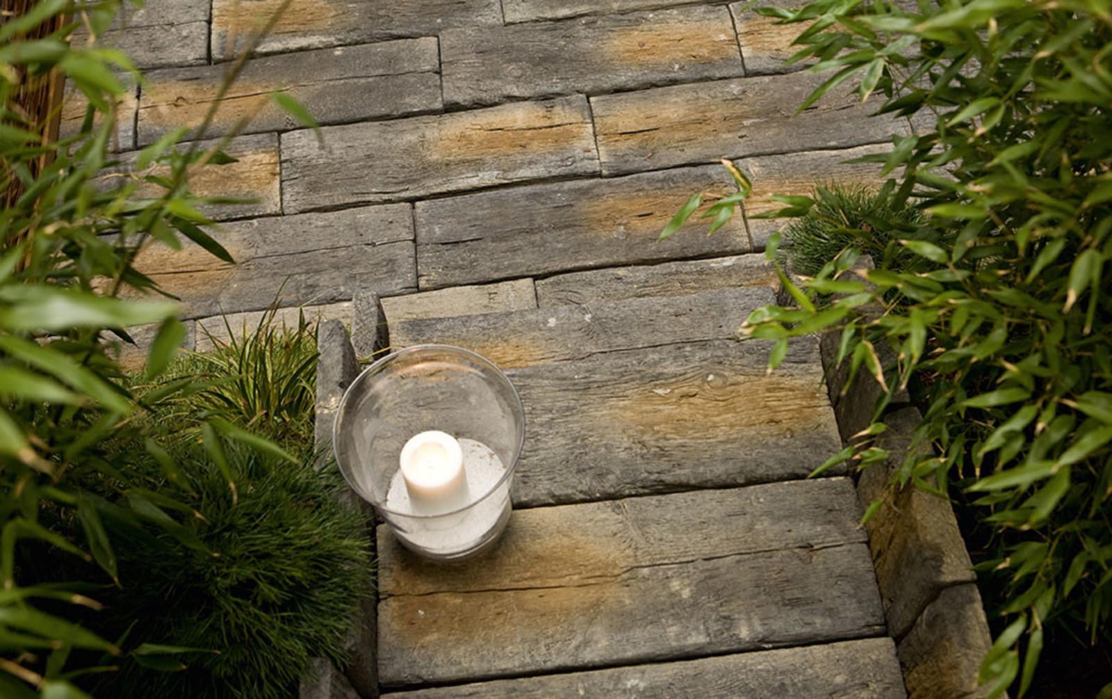 Terrassenplatten Betonsteine Holzoptik