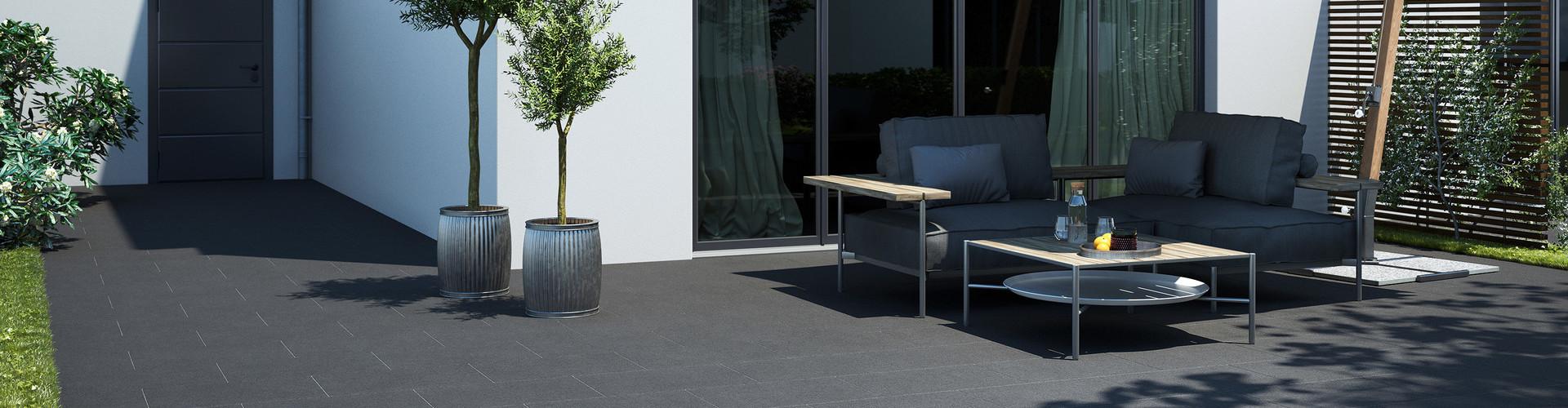 Terrassenplatten anthrazit beschichtet Protect