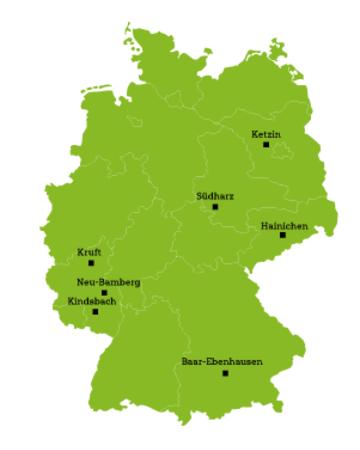 Deutschlandkarte Ausbildungsstandorte Industriekaufmann / frau bei EHL