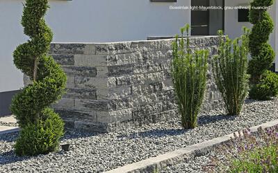 Mauersteine Blumenbeet grau-anthrazit