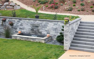 Gartenmauer Hang grau-anthrazit Bossamino