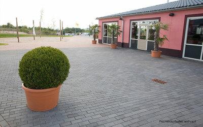 Terrasse gepflastert grau Rechtecksteine