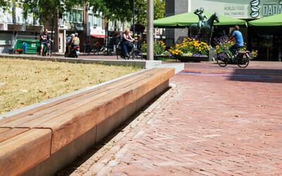 Parkbank freischwebende Sitzfläche Holz