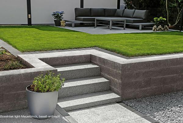 Gartenmauer Höhenausgleich anthrazit