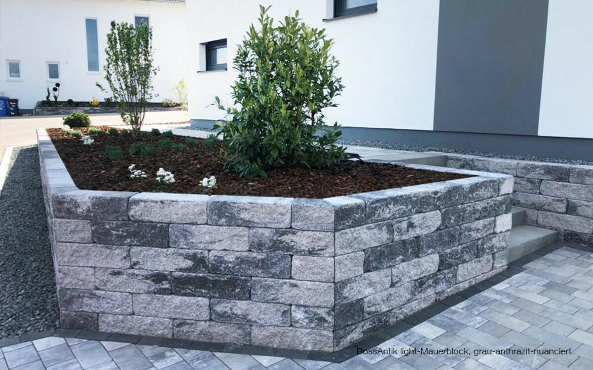 Blumenbeet Mauersteine grau-anthrazit