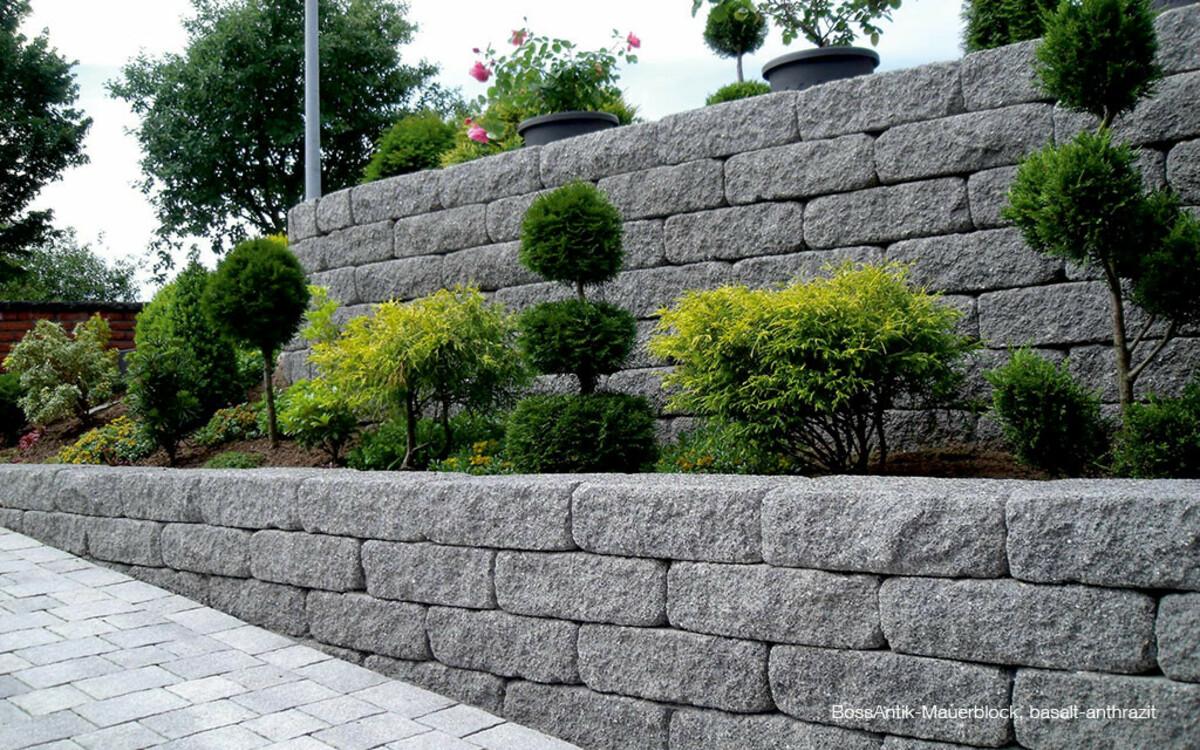 Einfahrt Sichtschutz Mauer dunkelgrau