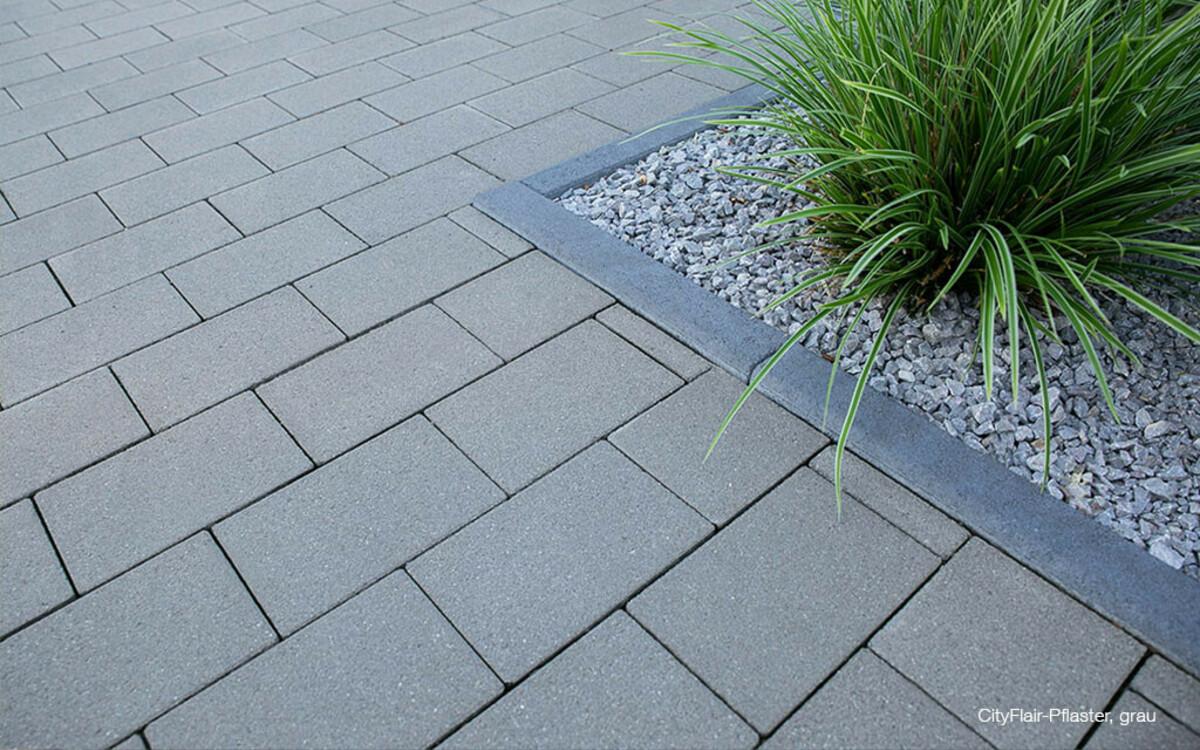 Pflastersteine grau veredelte Oberfläche