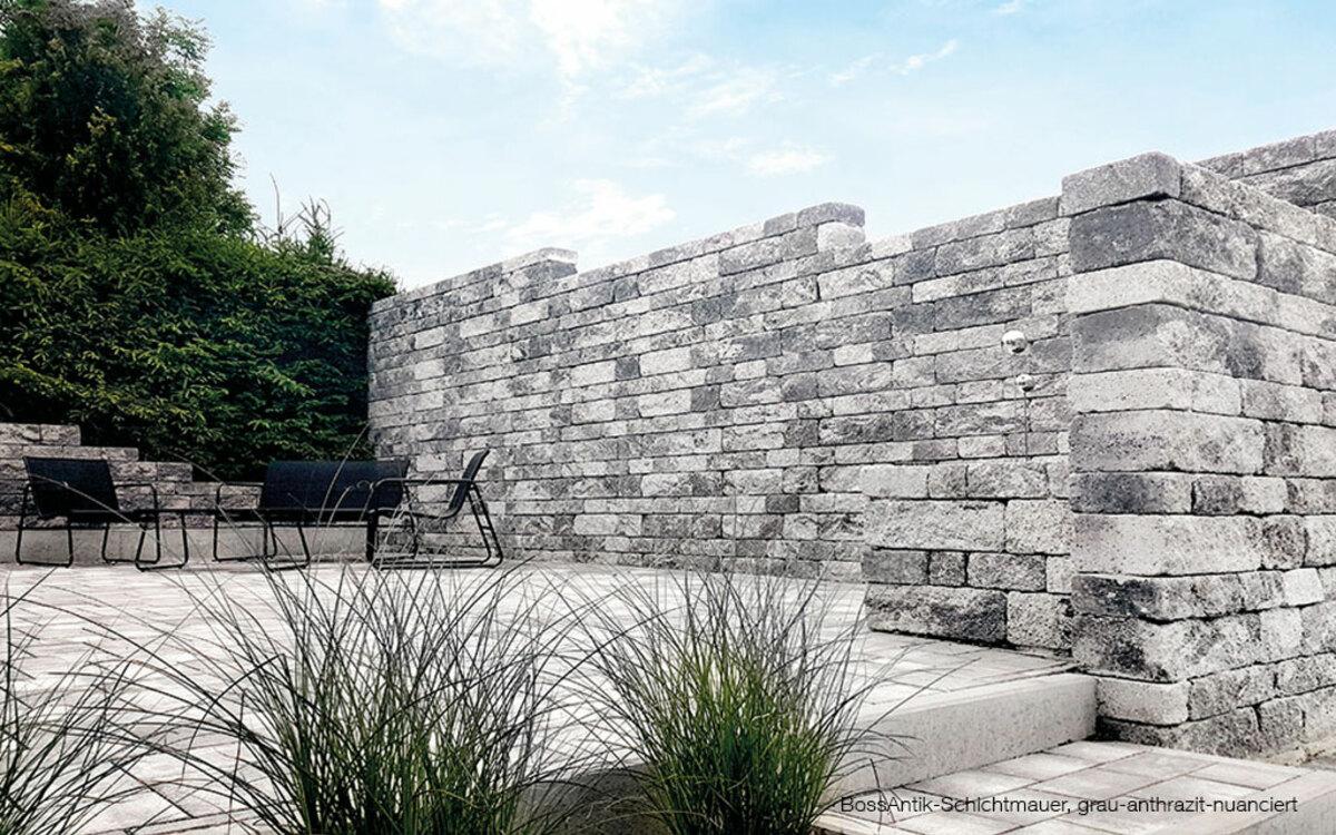 Mauerstein Terrasse grau anthrazit