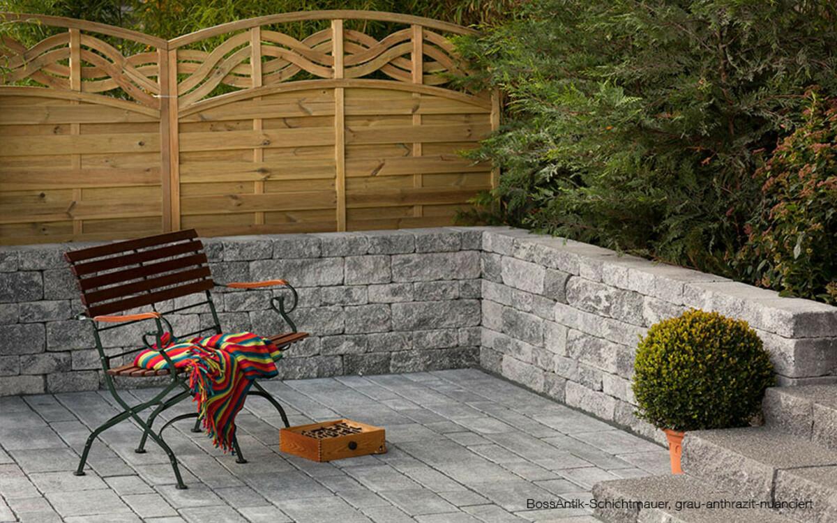 Gartenmauer Terrasse Eingrenzung grau-anthrazit