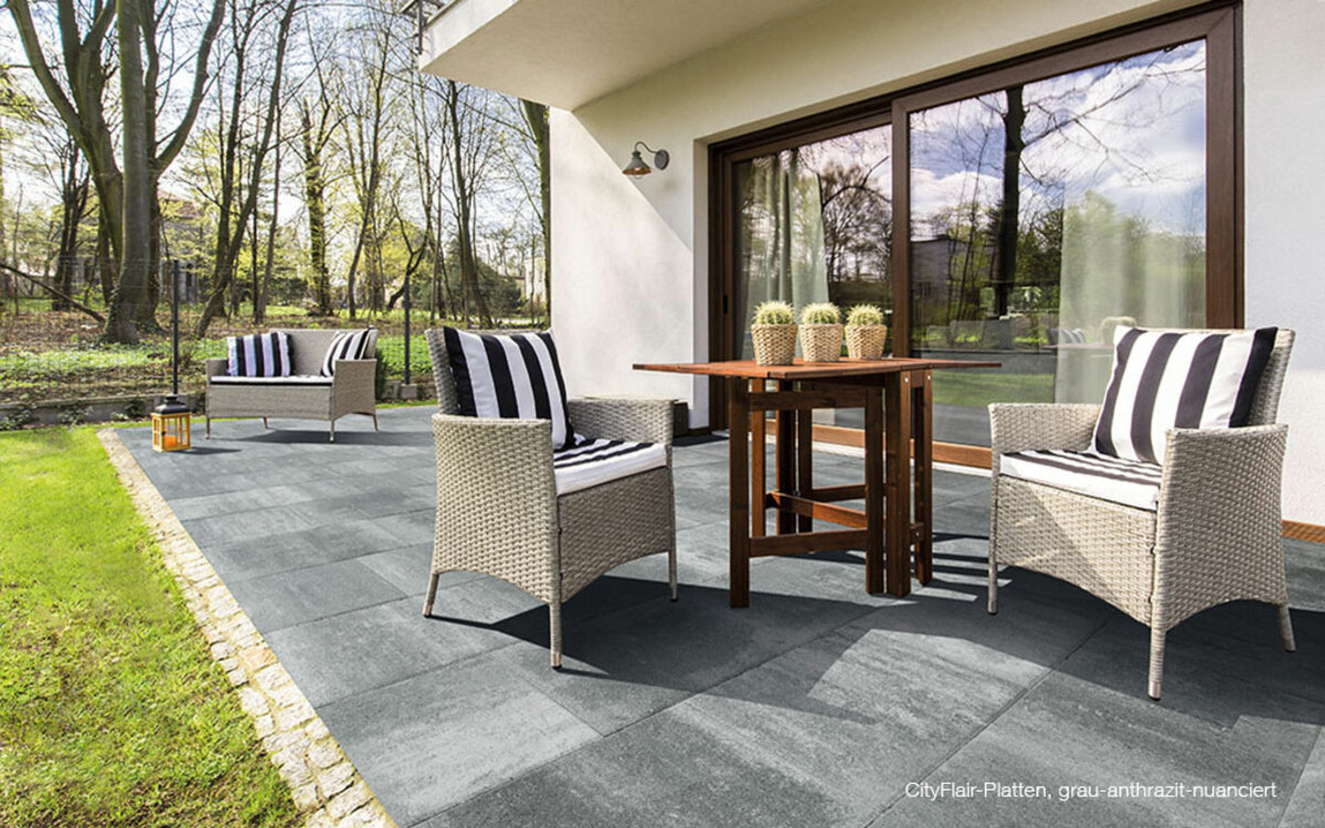 Terrassenplatten grau anthrazit Großformat