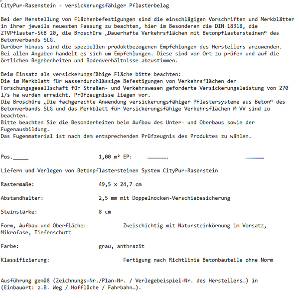 Ausschreibungstext CityPur-Rasenstein