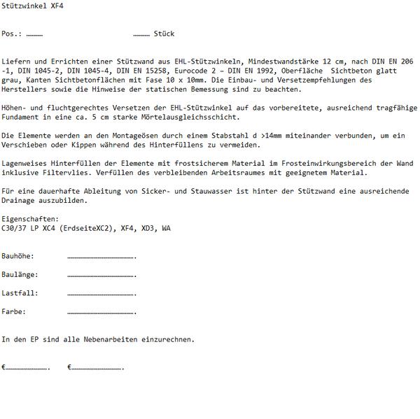 Ausschreibungstext Ehl Stützwinkel XF4