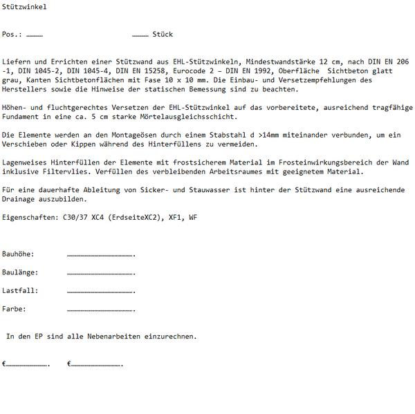 Ausschreibungstext EHL Stützwinkel
