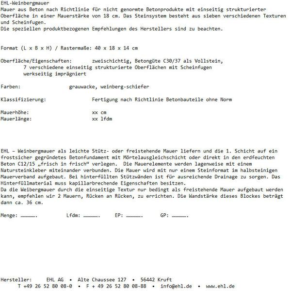 Ausschreibungstext EHL-Weinbergmauer