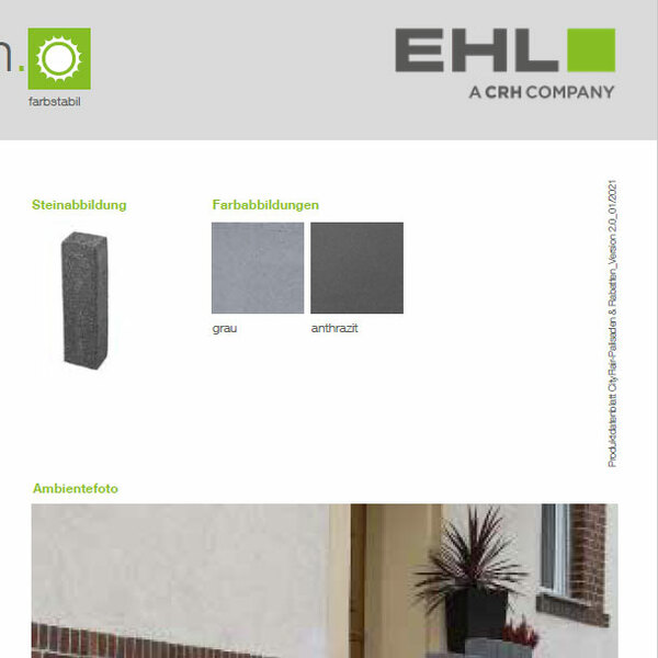 EHL-Datenblatt CityFlair-Palisaden
