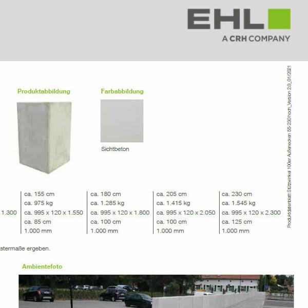 EHL Datenblatt Stützwinkel 100 niedrig Ecke