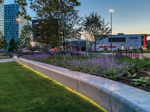 De Esplanade Almere Sitzbank Beton mit LED