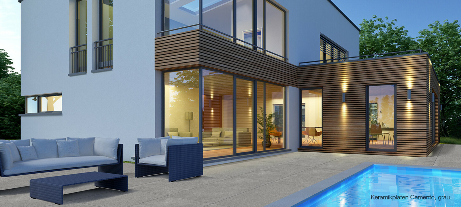 Keramik Terrassenplatten um Pool