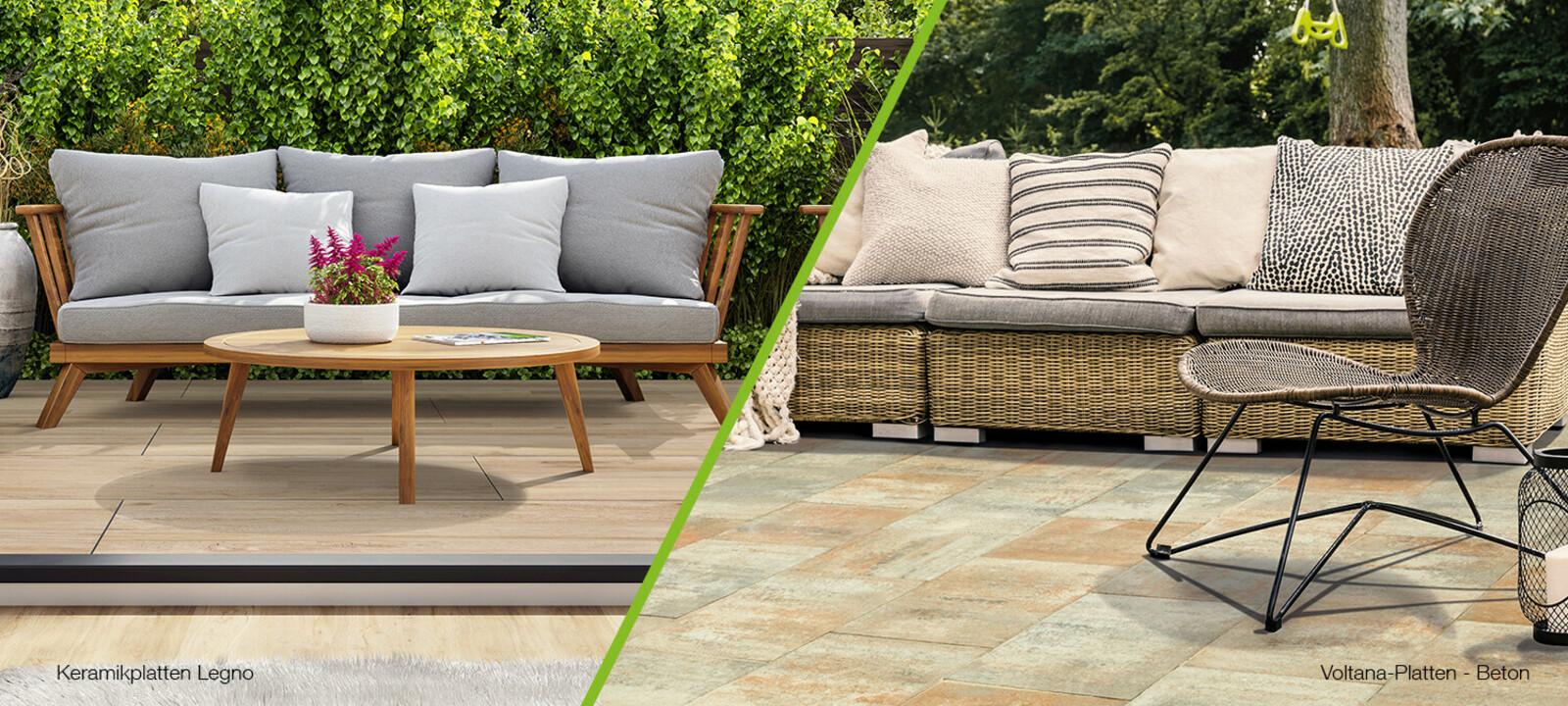 Terrassenplatten Keramik und Beton Vergleich