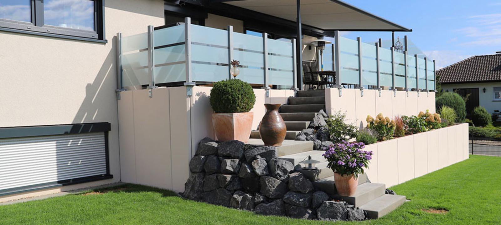 L Steine Terrasse Sichtschutz